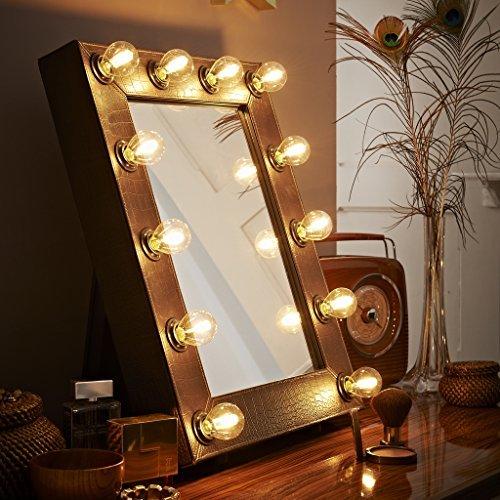 der broadway braun kunstleder krokodiloptik hollywood beleuchtet led dimmbar make up spiegel. Black Bedroom Furniture Sets. Home Design Ideas