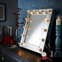 Der Broadway Silber Kunstleder-effekt Hollywood Beleuchtet LED Dimmbar Make-Up Spiegel Licht Umkleidekabine Tischplatte oder Wandmontage Schminktisch -