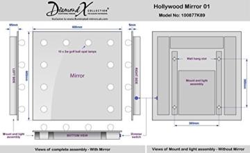 Diamond X Collection Hollywood Schmink- / Frisierspiegel (H)600 x (W)600mm -