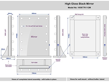Diamond X Gloss Black Hollywood Makeup Mirror Warm White Dimmable LED k112MWW -