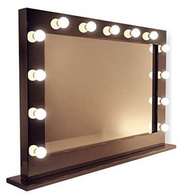 Diamond X Gloss Black Hollywood Makeup Mirror with CoolWhite LED k314CWaud -