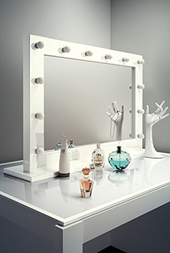 Diamond x gloss white hollywood makeupmirror with cool - Hollywood spiegel lampen ...