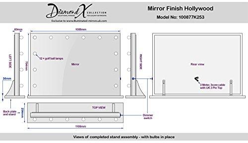 ganzfl chiger hollywood schminkspiegel mit dimmbaren warmwei en leds k253ww hollywood spiegel. Black Bedroom Furniture Sets. Home Design Ideas