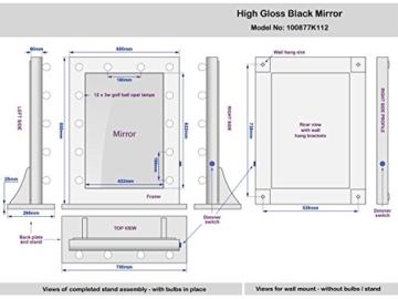 Schwarzer Hochglanz Hollywood Theater-Garderobe LED-Schminkspiegel k112CW -