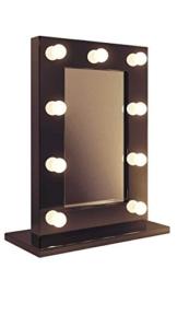 Schwarzer Hochglanz Hollywood Theater-Garderobe warmweiße LED-Schminkspiegel k218WW -