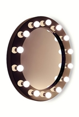 Schwarzer, runder Hollywood Hochglanz-Schminkspiegel mit warmweißen LEDs K247WW -