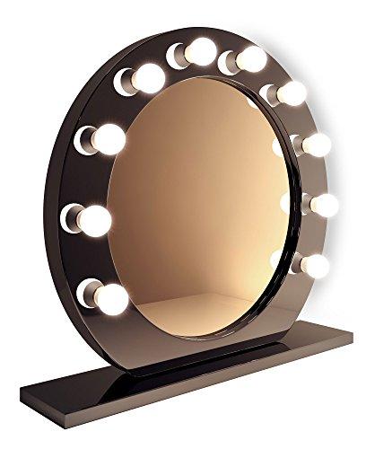 Schwarzer runder hollywood hochglanz schminkspiegel mit warmwei en leds k249ww hollywood - Runder spiegel schwarz ...