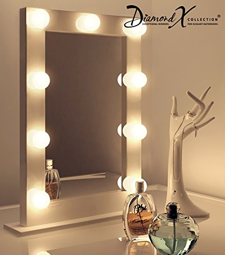 Wei er hochglanz hollywood theater garderobe warmwei e led schminkspiegel k217ww hollywood - Hollywood spiegel lampen ...