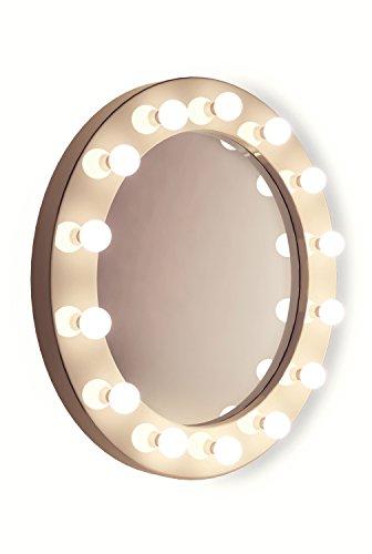 Weißer, runder Hollywood Hochglanz-Schminkspiegel - kaltweiße LED-Lampen k246CW -